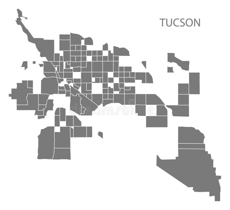 Carte de ville de Tucson Arizona avec le sil gris d'illustration de voisinages illustration de vecteur