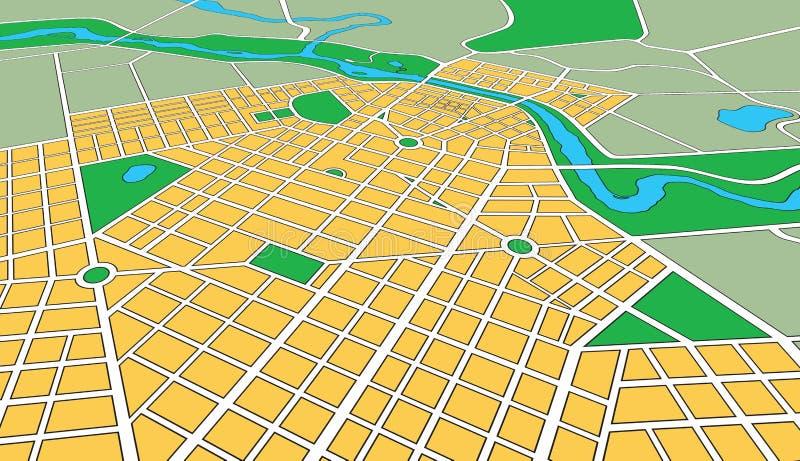 Carte de ville urbaine générique dans l'angle de point de vue illustration libre de droits