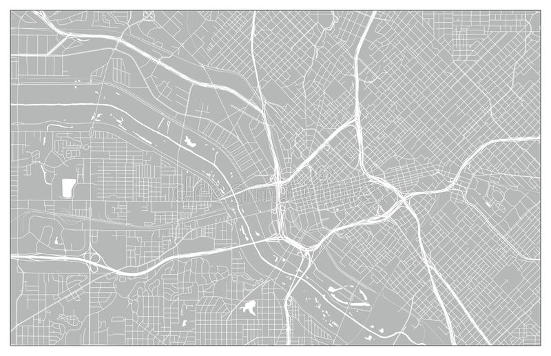 Carte de ville de vecteur de Dallas illustration stock