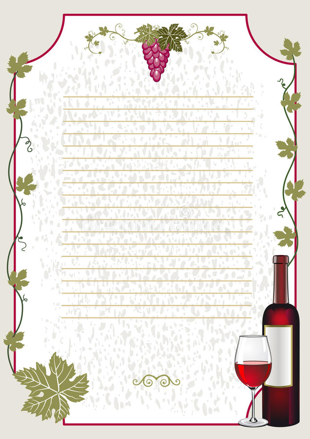 Carte de vin illustration libre de droits
