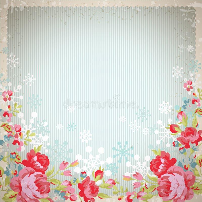 Carte de vintage avec des roses et des flocons de neige illustration de vecteur