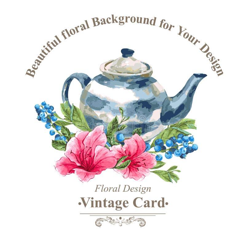 Carte de vintage d'invitation avec des myrtilles, roses illustration de vecteur
