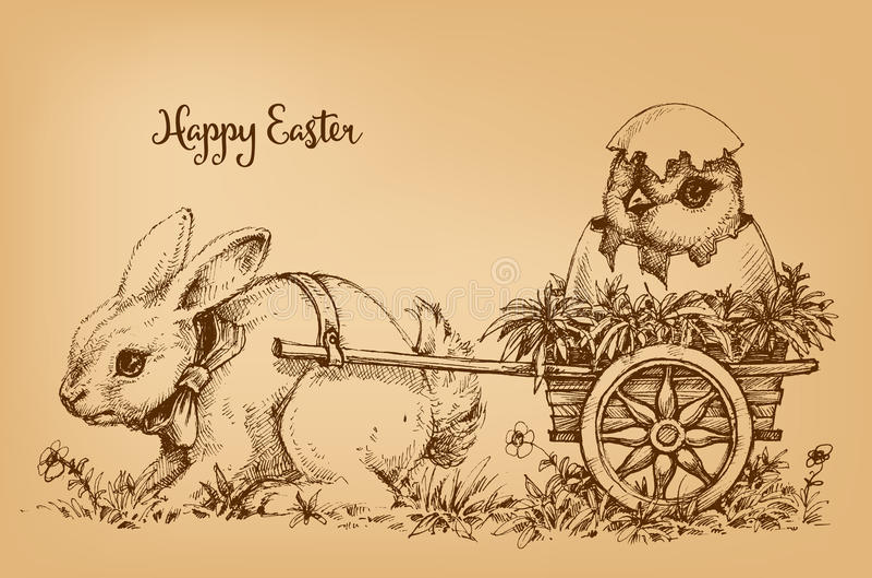 Carte de vintage de lapin de Pâques illustration libre de droits