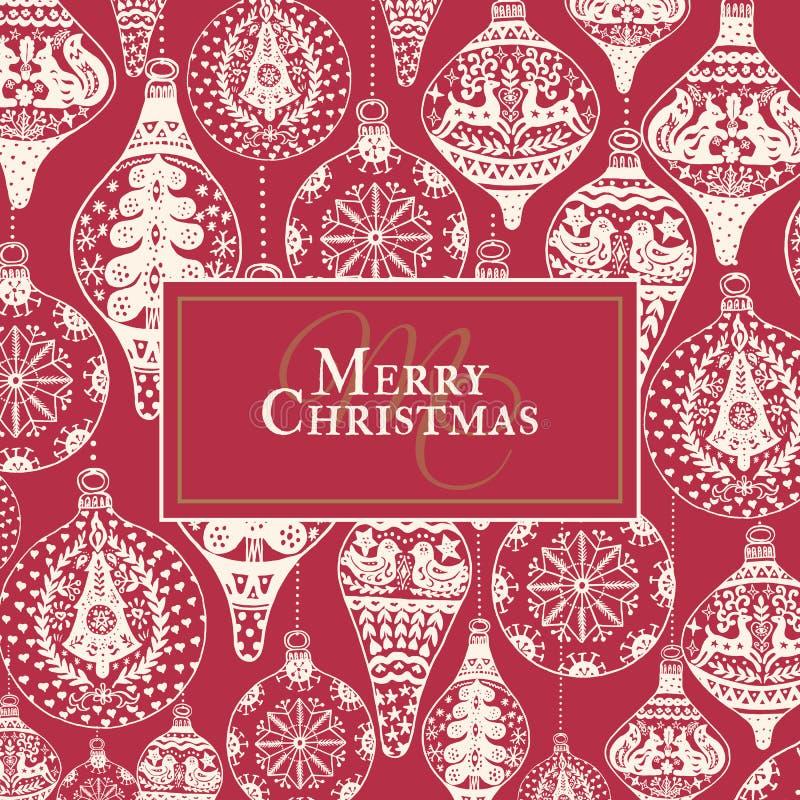 Carte de vintage de Noël avec avec la décoration tirée par la main de Noël illustration libre de droits