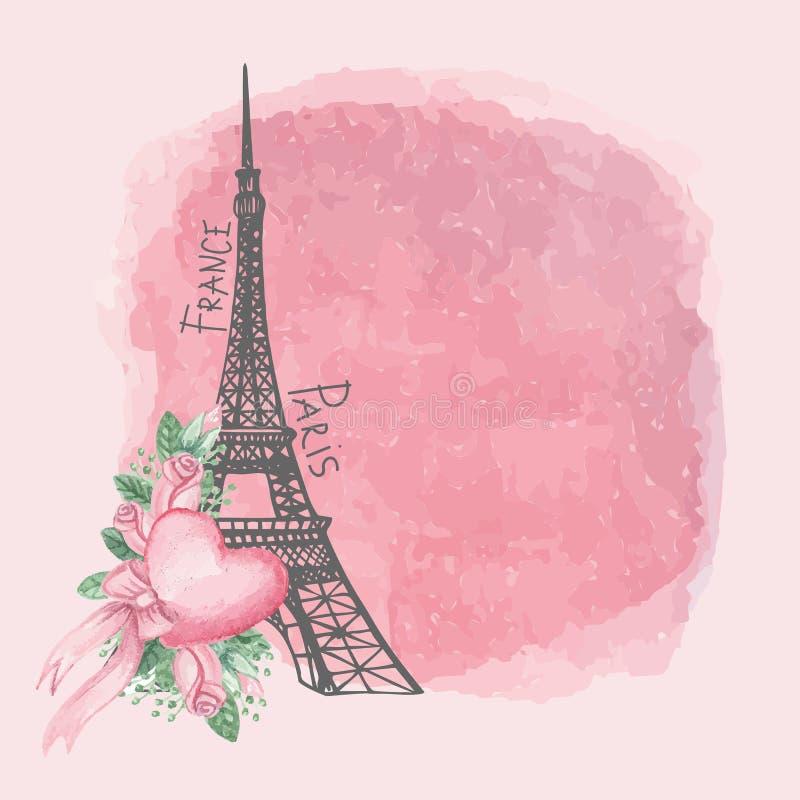 Carte de vintage de Paris Tour Eiffel, rose d'aquarelle illustration libre de droits