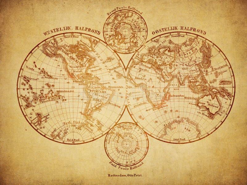 Carte de vintage du monde 1860 illustration de vecteur