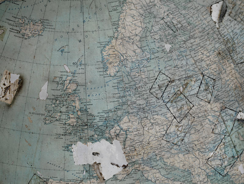 Carte de vintage (fragment du globe) de la vieille Europe occidentale dedans images stock