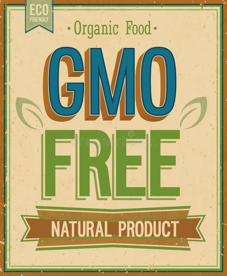 Carte de vintage - GMO gratuit. illustration stock