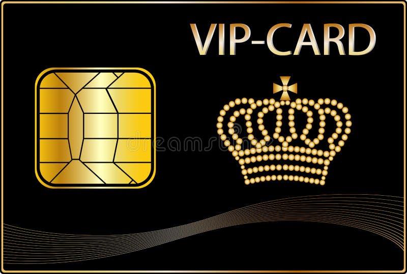 Carte de VIP avec une tête d'or illustration stock