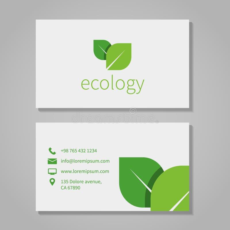 Carte de visite professionnelle écologique ou d'eco de compagnie d'énergie de visite illustration stock