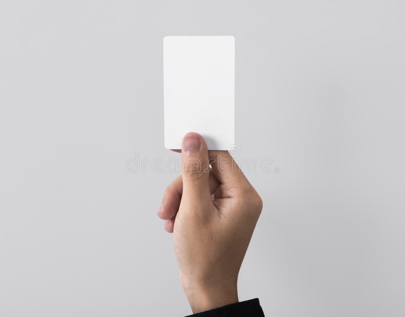 Carte de visite professionnelle de visite de blanc de crochet des employés pour le logo de calibre de maquette photos stock