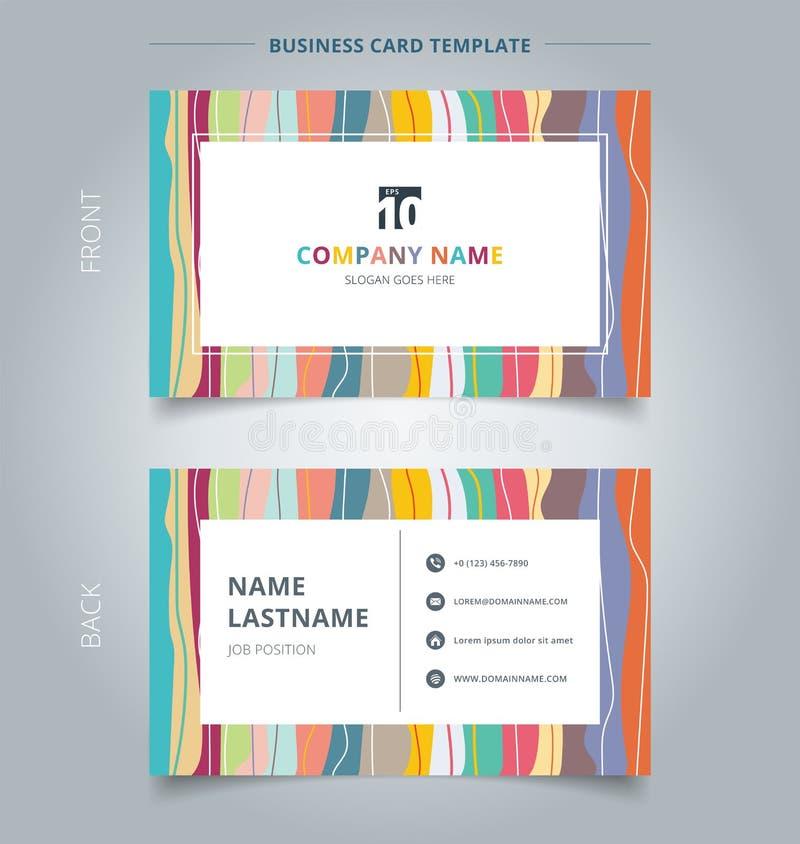 Carte de visite professionnelle de visite créative et pastels colorés de calibre de carte nominative v illustration stock