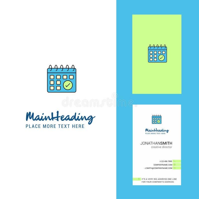 Carte de visite professionnelle créative de logo et de visite de calendrier vecteur vertical de conception illustration stock