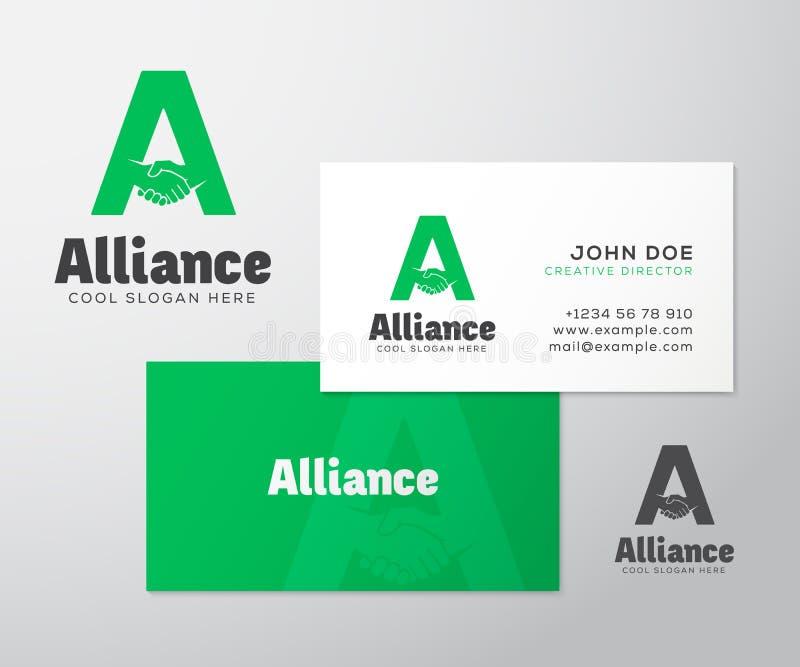 Carte de visite professionnelle de logo et de visite de vecteur d'abrégé sur Alliance illustration stock