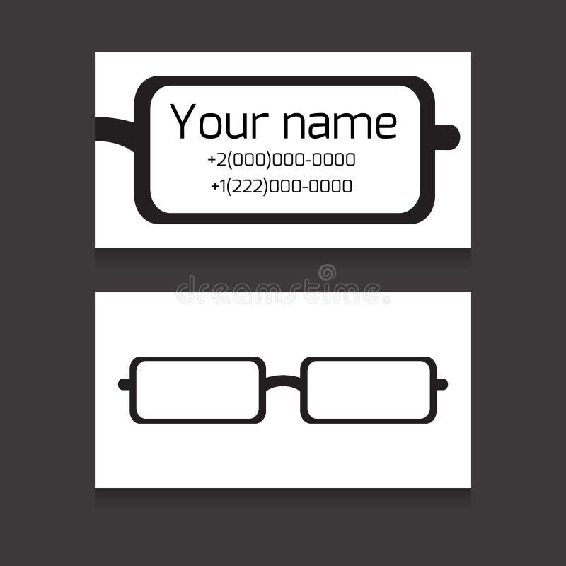 Carte De Visite Professionnelle Bilaterale Calibre Avec Des Verres Yeux Pour Ophtalmologistes Les Negociants Travailleurs Dopticiens