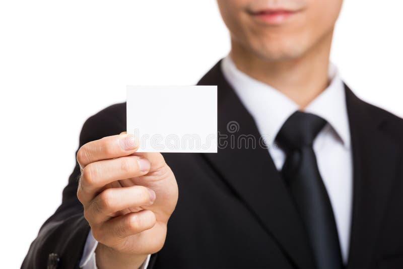 Carte de visite professionnelle de visite d'apparence de main d'homme d'affaires photo stock