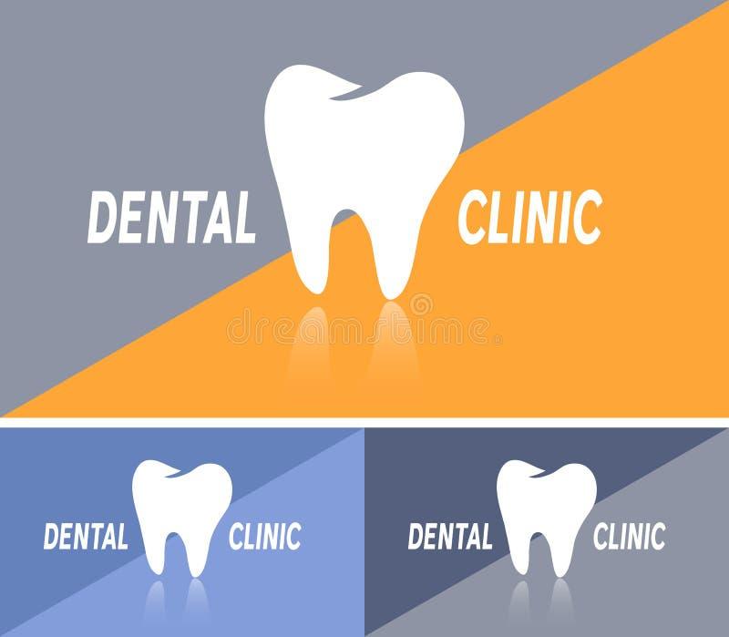 Carte de visite professionnelle de visite ou bannière de Web avec l'icône dentaire de clinique illustration de vecteur