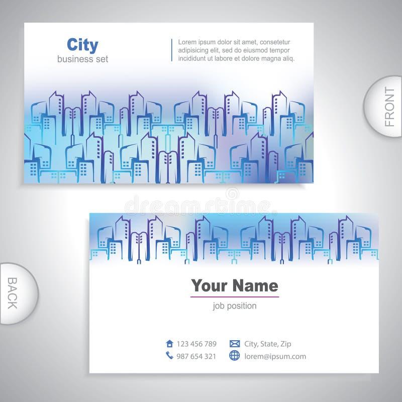 Carte de visite professionnelle de visite universelle de bâtiments de ville. illustration stock
