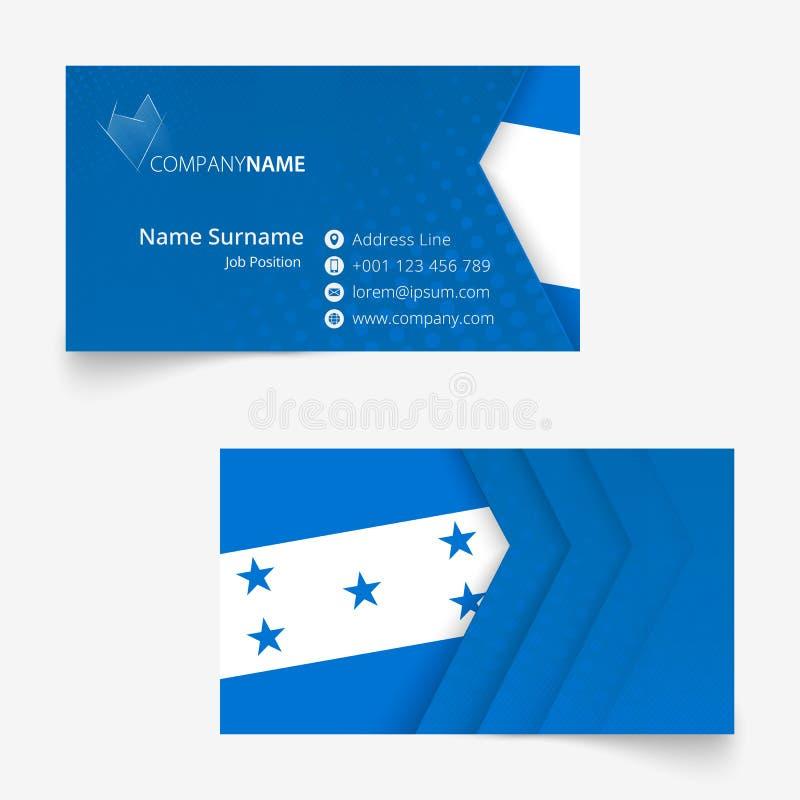 Carte de visite professionnelle de visite de drapeau du Honduras, calibre de carte de visite professionnelle de visite de la tail illustration stock