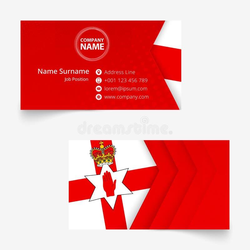 Carte de visite professionnelle de visite de drapeau de l'Irlande du Nord, calibre de carte de visite professionnelle de visite d illustration libre de droits