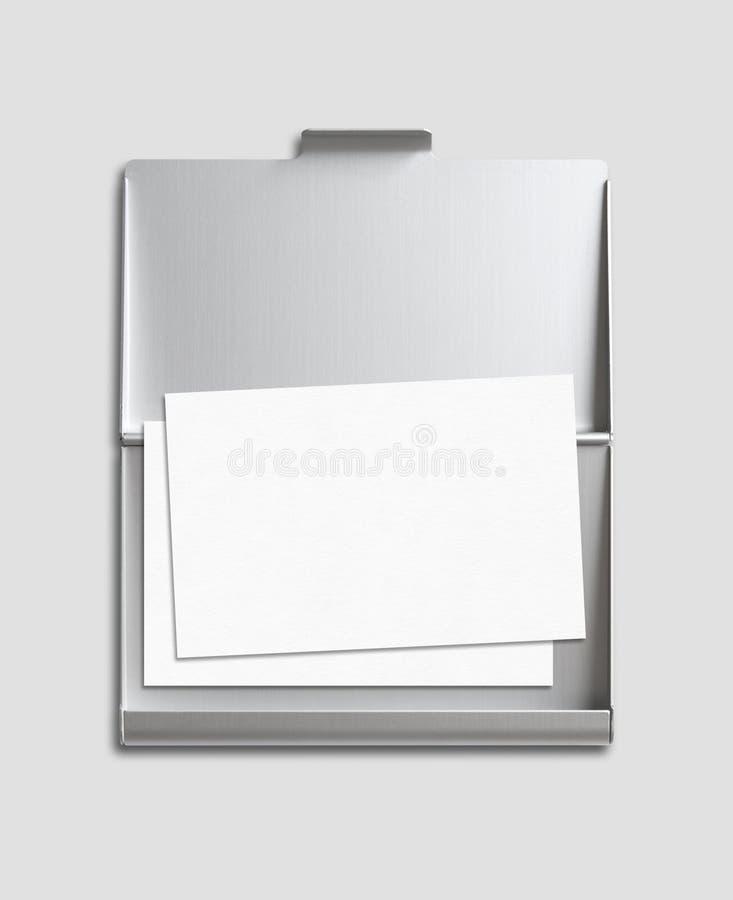 Carte de visite professionnelle de visite et maquette de titulaire de carte d'isolement sur le gris image stock