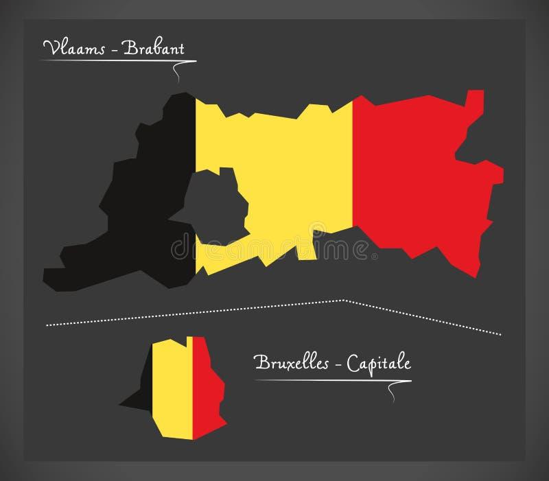 Carte de Vlaams - de Brabant et de Bruxelles de la Belgique avec le natio belge illustration libre de droits