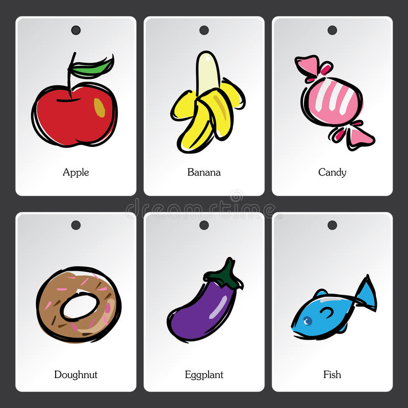 Carte de vocabulaire d'illustration de nourriture illustration de vecteur