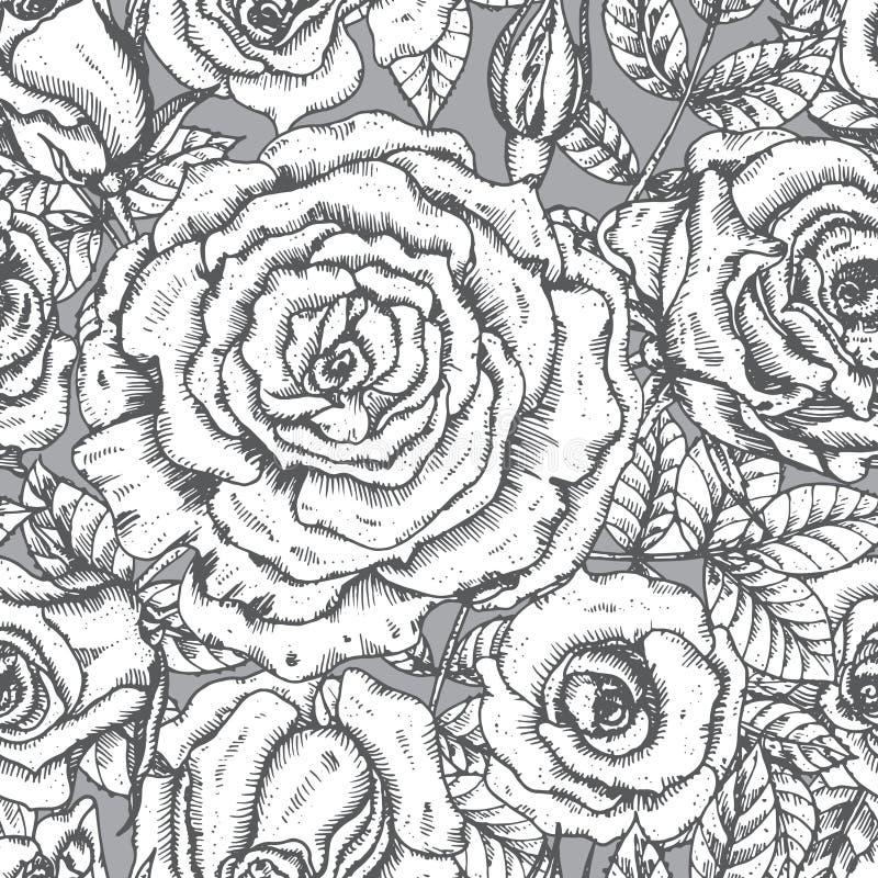 Carte de voeux élégante de vintage avec les fleurs graphiques (roses) illustration stock