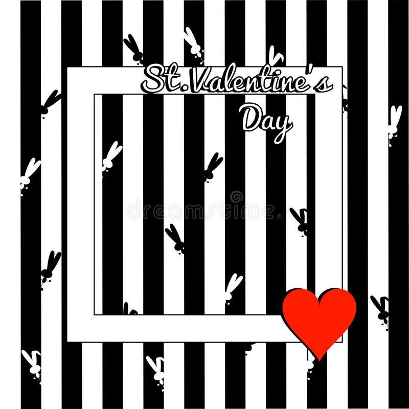 Carte de voeux élégante de jour de valentines Calibre avec le lapin des textes et de silhouette et le coeur rouge, cadre carré bl illustration de vecteur