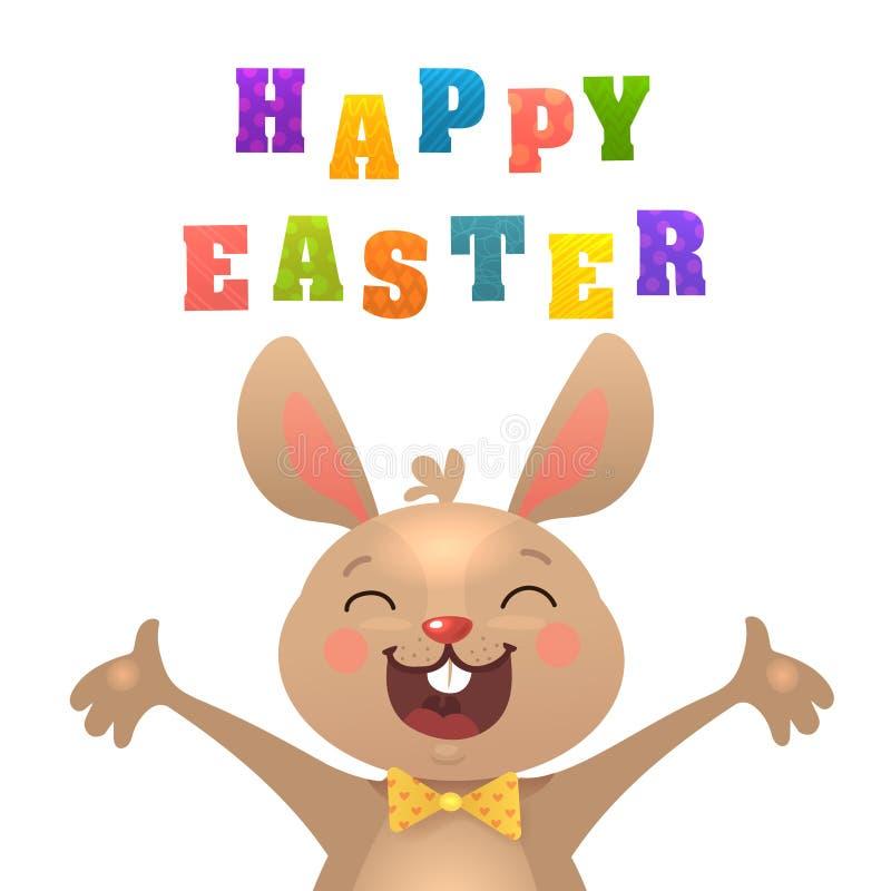 Carte de voeux de ?Happy P?ques de ?du ? ?? de ???? avec le lapin Lapin de P?ques mignon avec les carottes color?es d'american na illustration de vecteur
