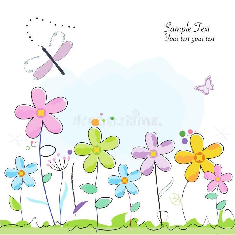 Carte de voeux abstraite colorée de fleur d'été illustration de vecteur