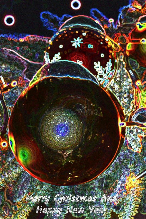 Carte de voeux au néon pendant le Joyeux Noël et la bonne année photo stock