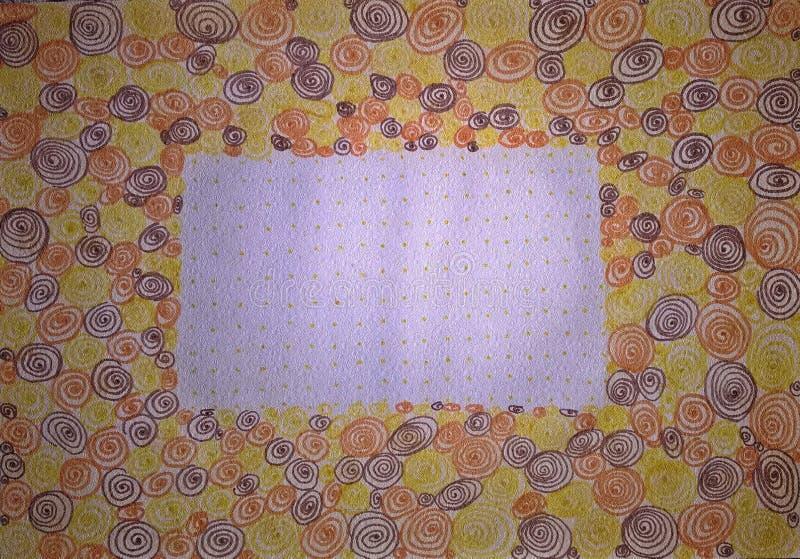 Carte de voeux avec beaucoup de spirales Illustration fabriquée à la main illustration libre de droits