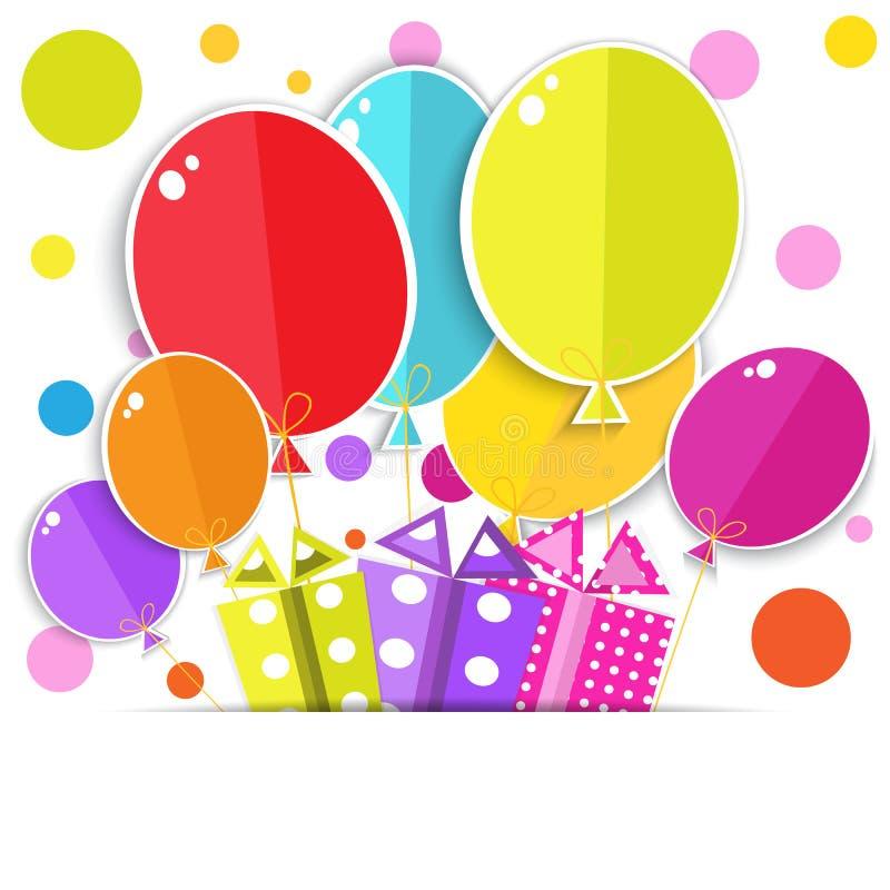Carte de voeux avec boîte-cadeau et ballons. illustration stock