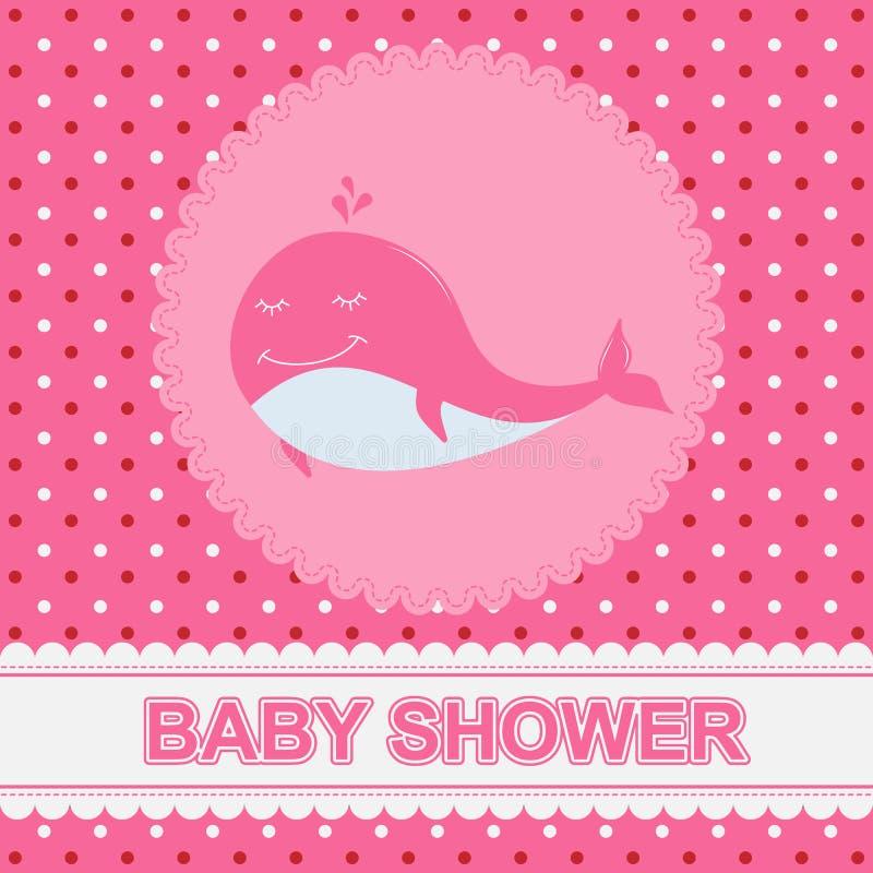 Carte de voeux avec charmer peu de baleine sur le fond rose illustration libre de droits