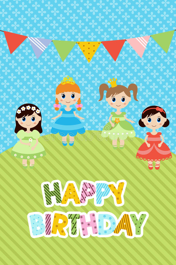 Carte de voeux avec de petites filles illustration stock