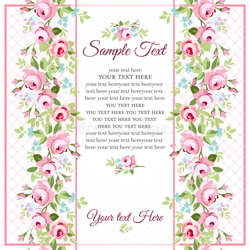 Carte de voeux avec de petites roses roses illustration libre de droits