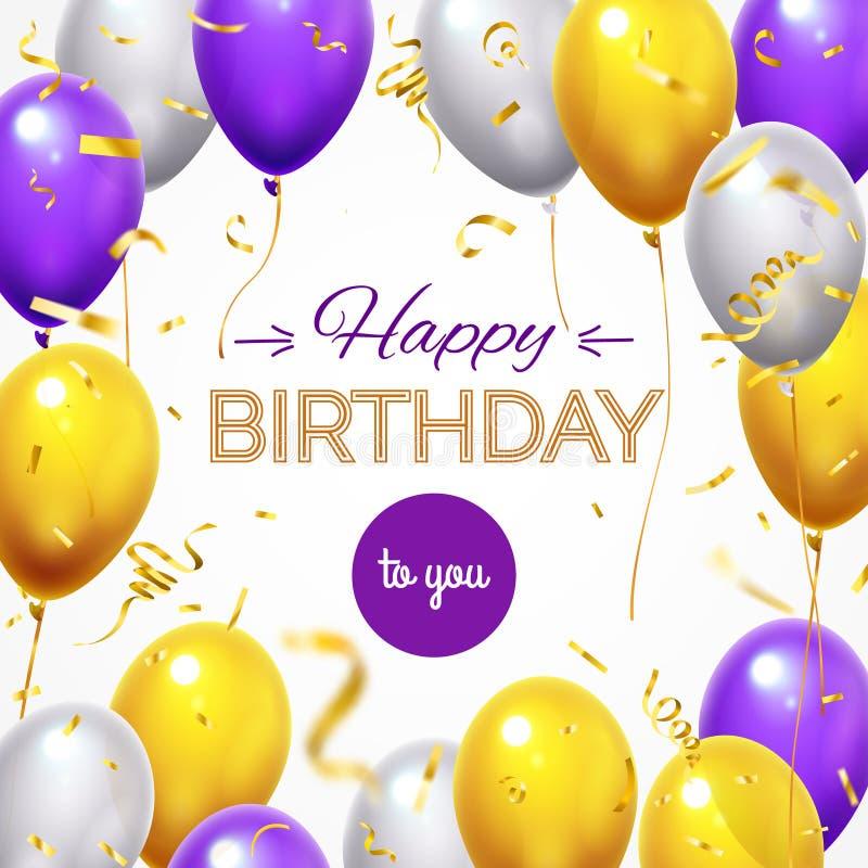 Carte de voeux avec des ballons Ballon volant brillant d'hélium de joyeux anniversaire et confettis brillants d'or pour des carte illustration libre de droits