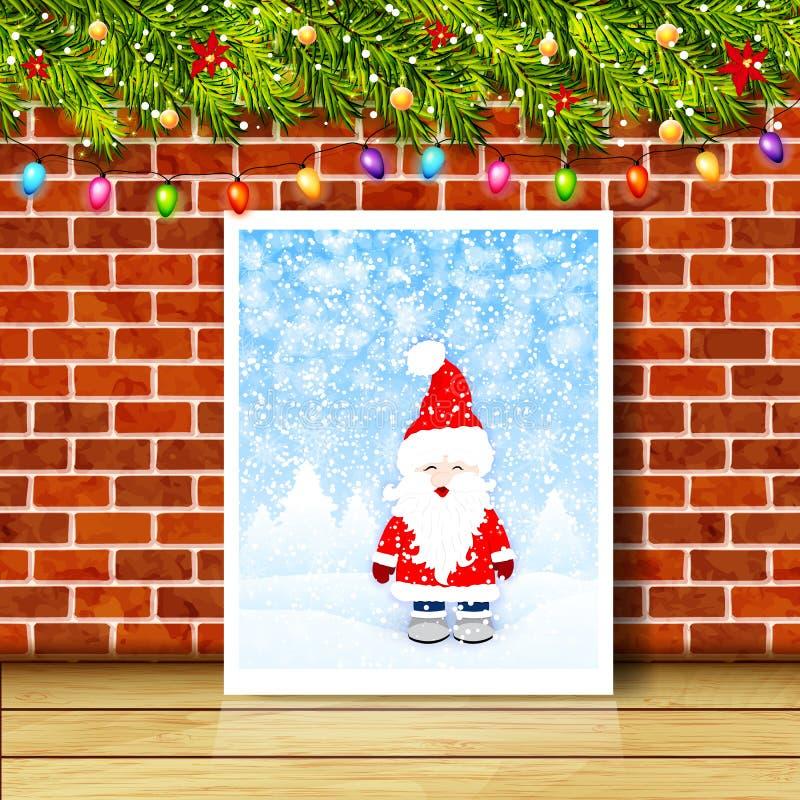 Carte de voeux avec des branches, des guirlandes et le mur de briques d'arbre de Noël illustration libre de droits