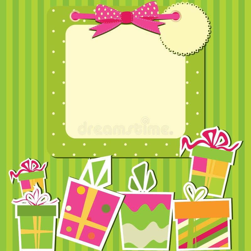 Carte de voeux avec des cadres de cadeau illustration libre de droits