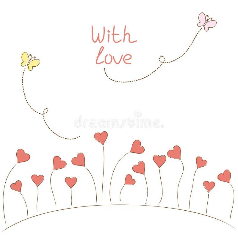 Carte de voeux avec des coeur-fleurs illustration libre de droits