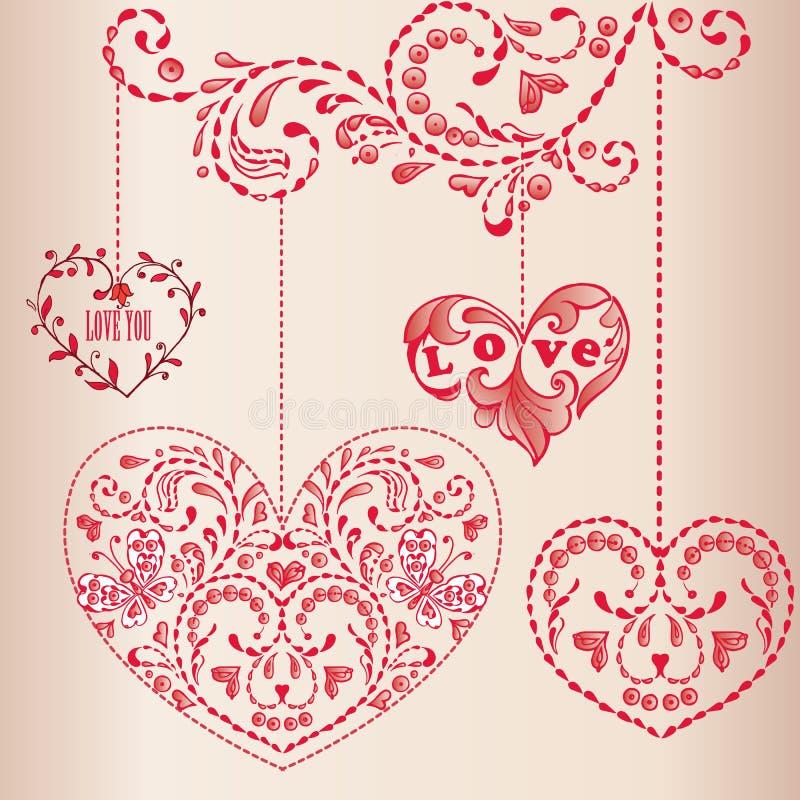 Carte de voeux avec des coeurs Joyeux anniversaire, jour du ` s de mère, Valentine heureux illustration de vecteur