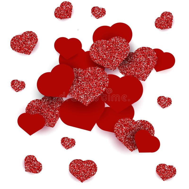 Carte de voeux avec des coeurs pour le jour heureux du ` s de Valentine Effet rouge de scintillement photographie stock libre de droits