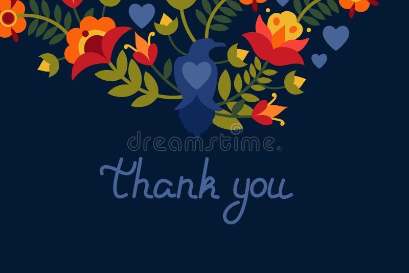 Carte de voeux avec des corbeaux de fleurs et d'oiseaux Texte : Le ` vous remercient ` Images lumineuses sur un fond foncé illustration stock