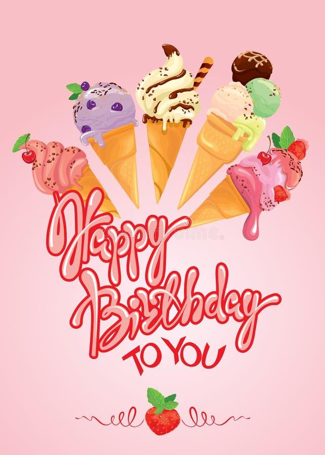 Carte de voeux avec des cornets de crème glacée sur le fond rose calligrap illustration libre de droits