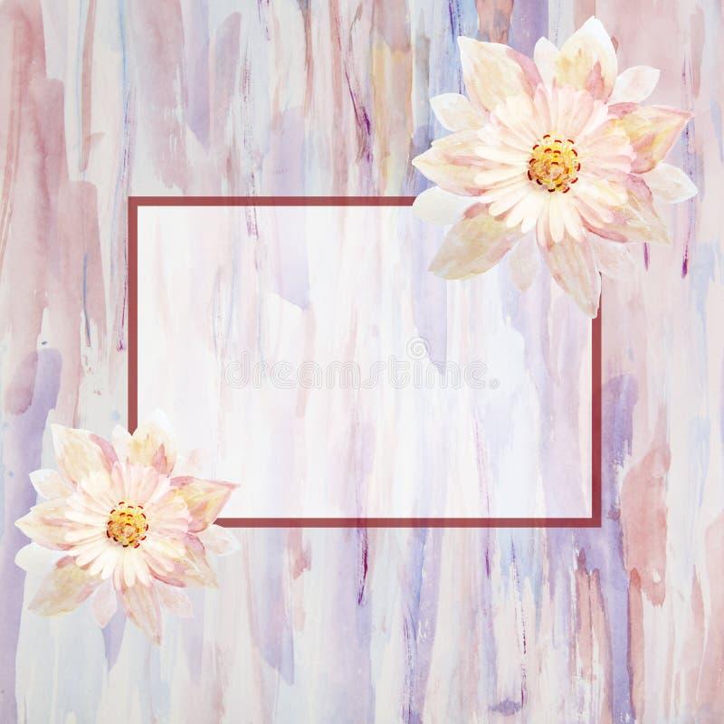 Carte de voeux avec des fleurs handmade Peinture d'aquarelle illustration stock