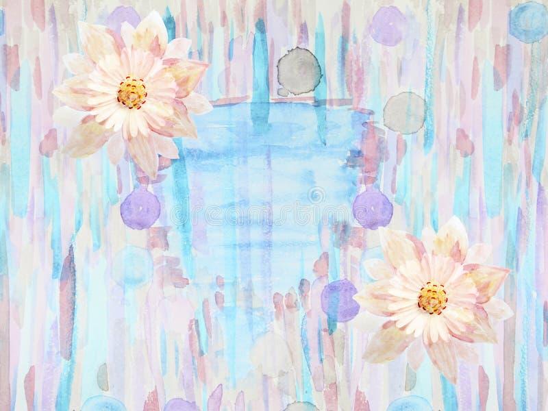 Carte de voeux avec des fleurs handmade Peinture d'aquarelle illustration de vecteur