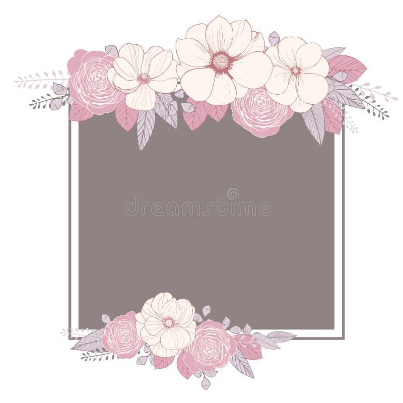 Carte de voeux avec des fleurs Invitation de mariage Illustrat de vecteur illustration libre de droits