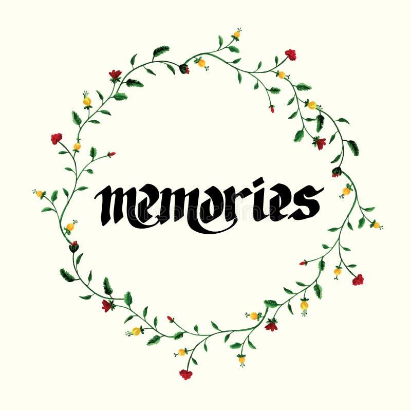Carte de voeux avec des fleurs Peinture de main inscription mémoires illustration stock