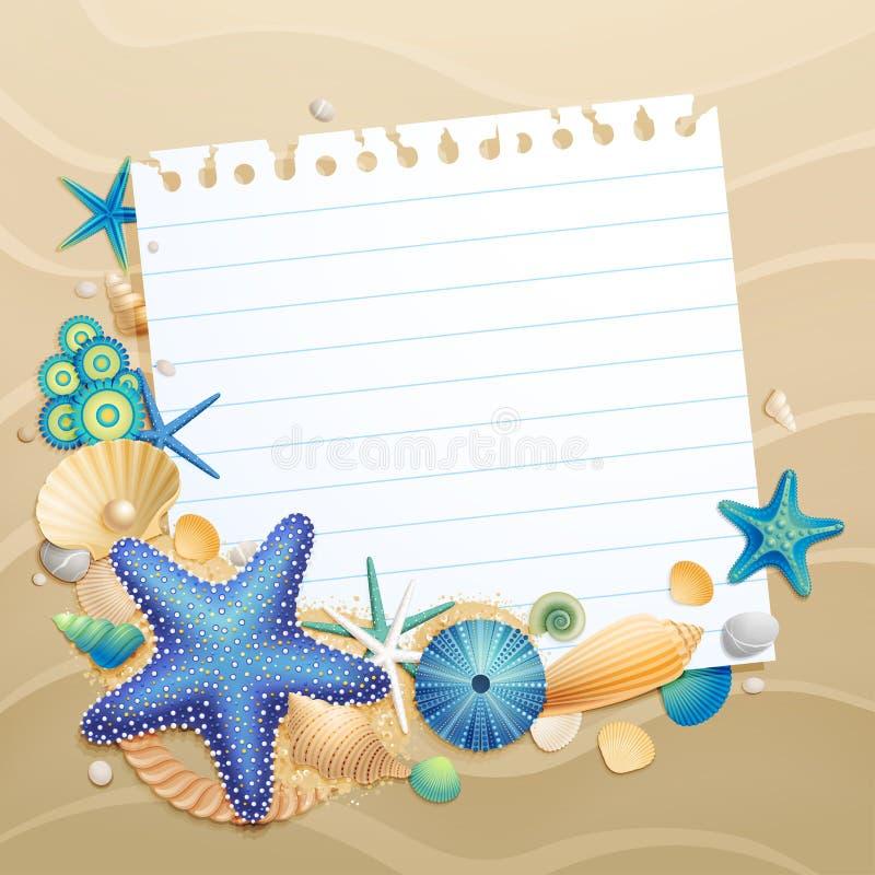 Carte de voeux avec des interpréteurs de commandes interactifs et des étoiles de mer illustration stock